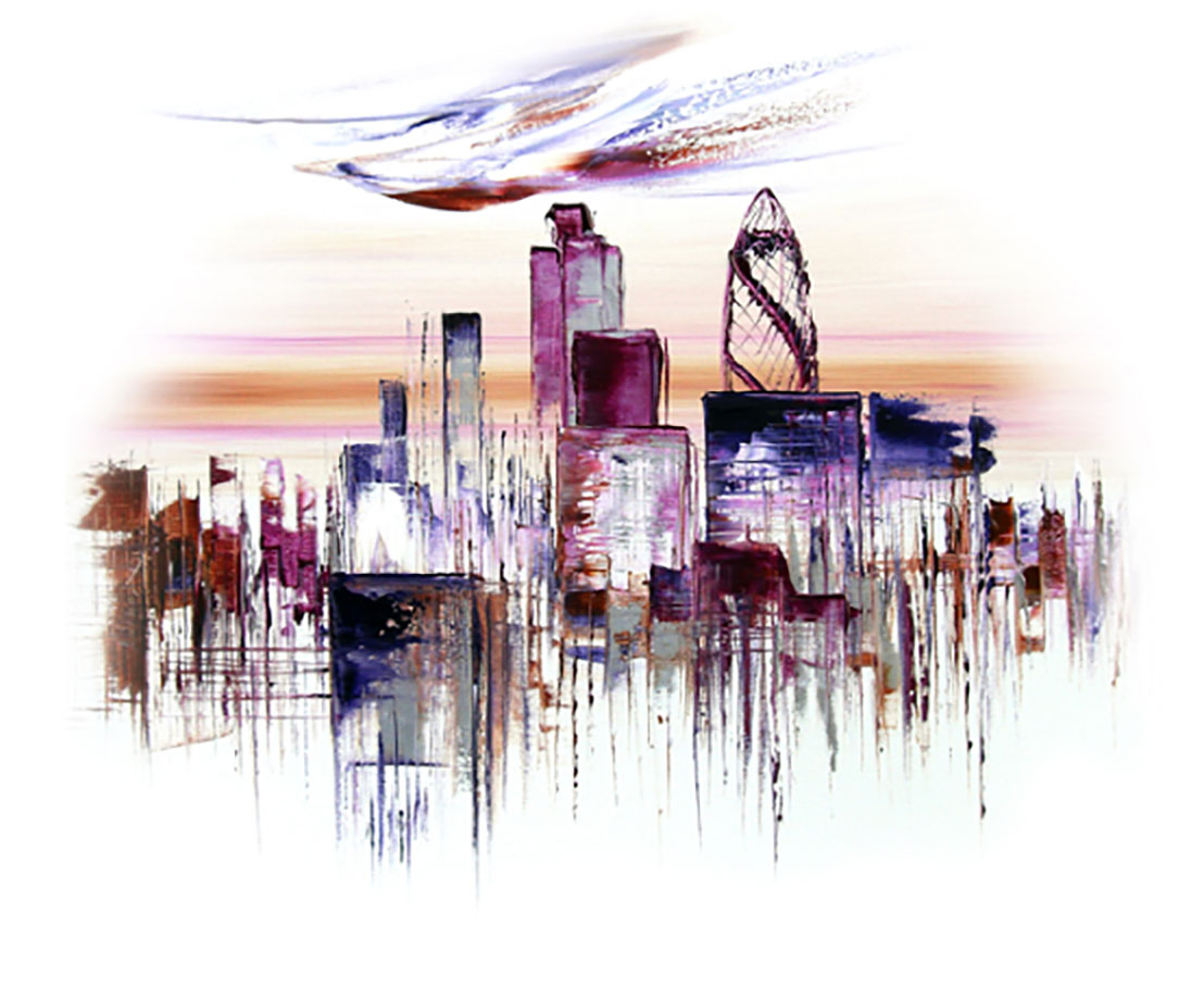 A water colour painting of the London skyline