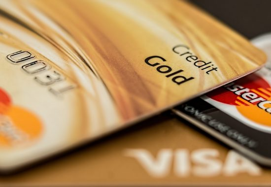 A close up image of credit cards